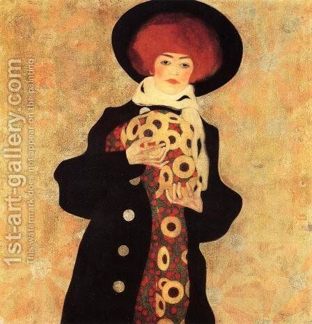 Woman With Black Hat by Egon Schiele - Reproduction Oil Painting