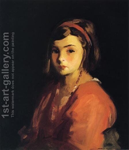 Agnes In Red (Agnes Schleicher) by Robert Henri - Reproduction Oil Painting