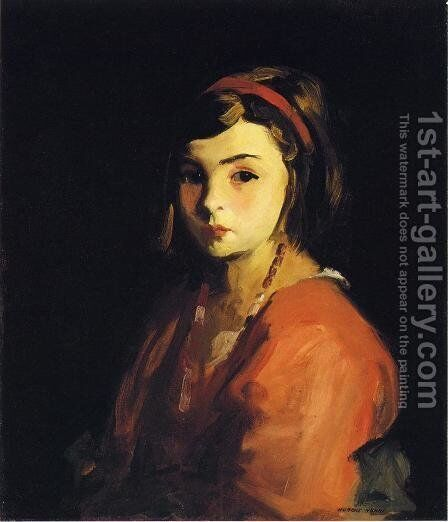 Little Girl In Red Aka Agnes In Red by Robert Henri - Reproduction Oil Painting