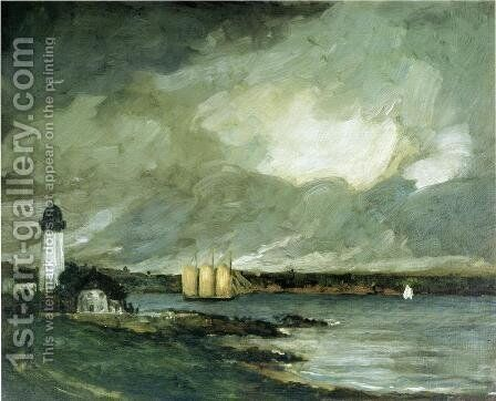 Pequot Light House  Connecticut Coast by Robert Henri - Reproduction Oil Painting