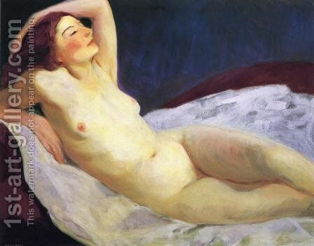 Reclining Nude (Barbara Brown) by Robert Henri - Reproduction Oil Painting
