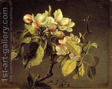 A Branch Of Apple Blossoms And Buds by Martin Johnson Heade - Reproduction Oil Painting