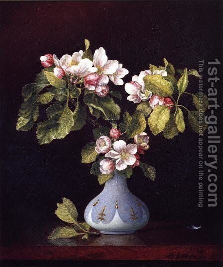 Apple Blossoms In A Vase by Martin Johnson Heade - Reproduction Oil Painting