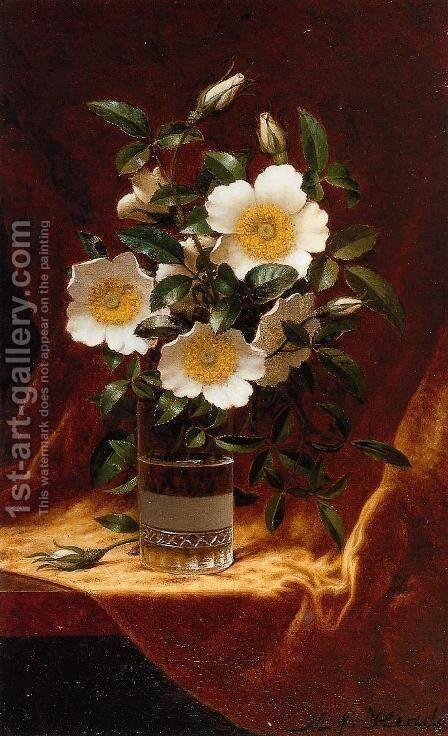 Cherokee Roses In A Glass by Martin Johnson Heade - Reproduction Oil Painting