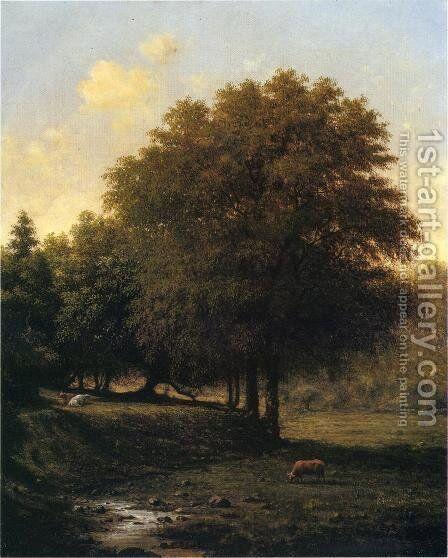 Cows In A Landscape by Martin Johnson Heade - Reproduction Oil Painting