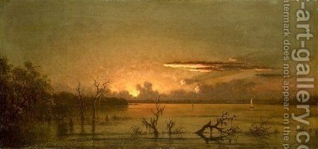 Duck Hunters In A Twilight Marsh by Martin Johnson Heade - Reproduction Oil Painting