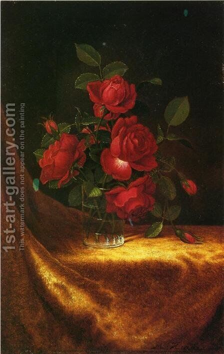 Four Roses In A Glass by Martin Johnson Heade - Reproduction Oil Painting