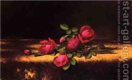 Jaqueminot Roses by Martin Johnson Heade - Reproduction Oil Painting