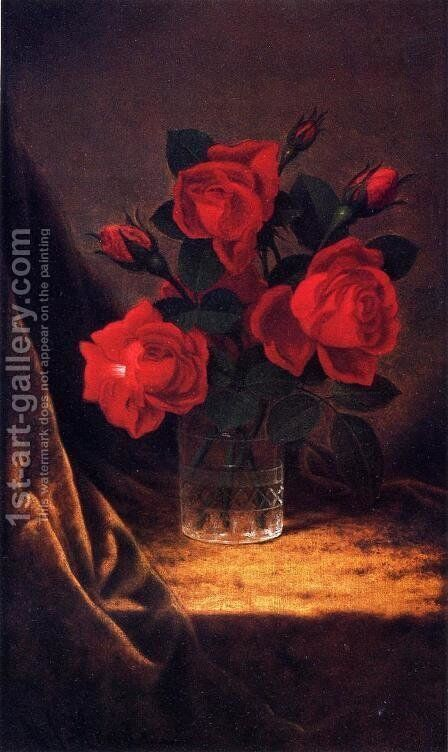 Jaqueminot Roses 2 by Martin Johnson Heade - Reproduction Oil Painting