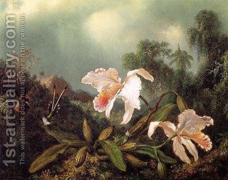 Jungle Orchids And Hummingbirds by Martin Johnson Heade - Reproduction Oil Painting