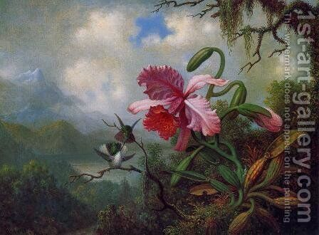 Orchid And Hummingbirds Near A Mountain Lake by Martin Johnson Heade - Reproduction Oil Painting