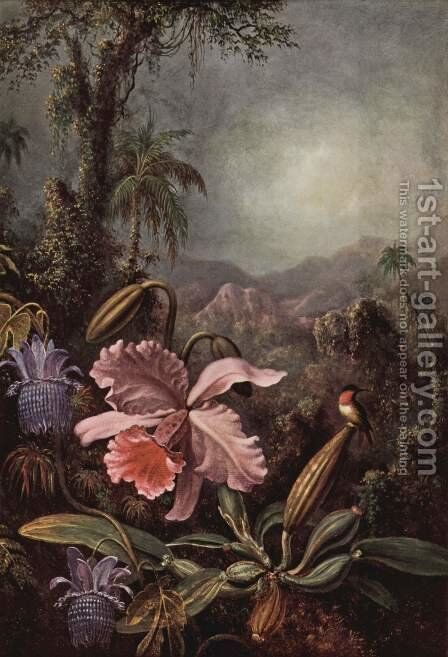 Orchids  Passion Flowers And Hummingbird by Martin Johnson Heade - Reproduction Oil Painting