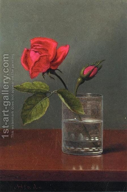 Red Rose And Bud In A Tumbler On A Shiny Table by Martin Johnson Heade - Reproduction Oil Painting