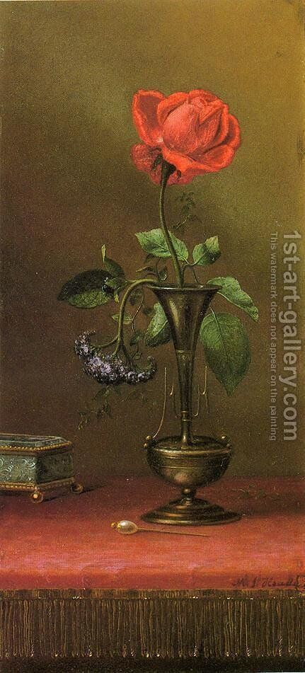Red Rose And Heliotrope In A Vase by Martin Johnson Heade - Reproduction Oil Painting