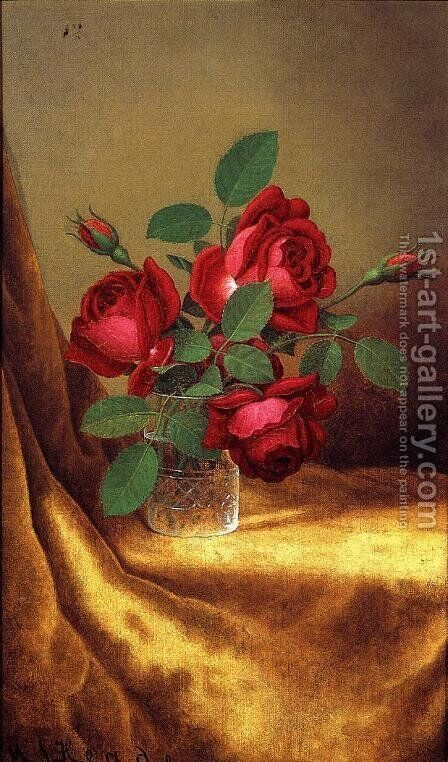 Red Roses In A Crystal Goblet by Martin Johnson Heade - Reproduction Oil Painting
