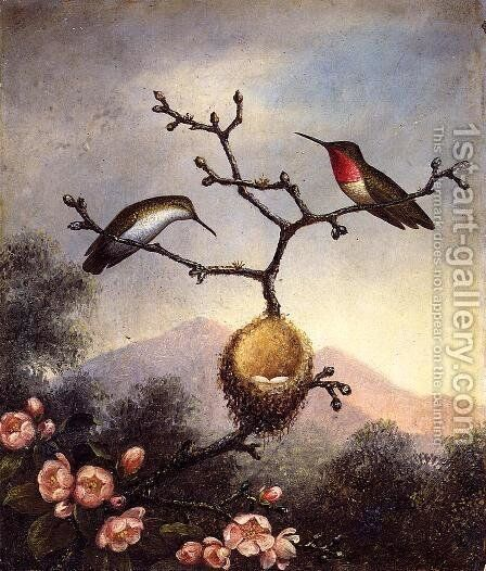 Ruby Throats With Apple Blossoms by Martin Johnson Heade - Reproduction Oil Painting