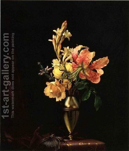Still Life With Flowers In A Silver Vase by Martin Johnson Heade - Reproduction Oil Painting