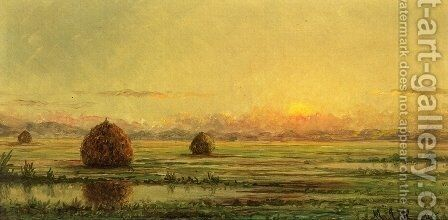 Sunset   A Sketch by Martin Johnson Heade - Reproduction Oil Painting