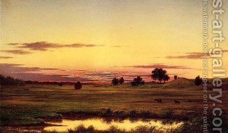 Sunset  Rhode Island by Martin Johnson Heade - Reproduction Oil Painting