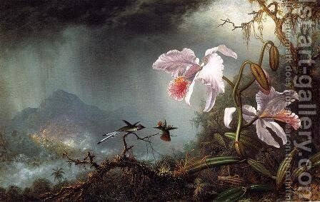 Two Fighting Hummingbirds With Two Orchids by Martin Johnson Heade - Reproduction Oil Painting