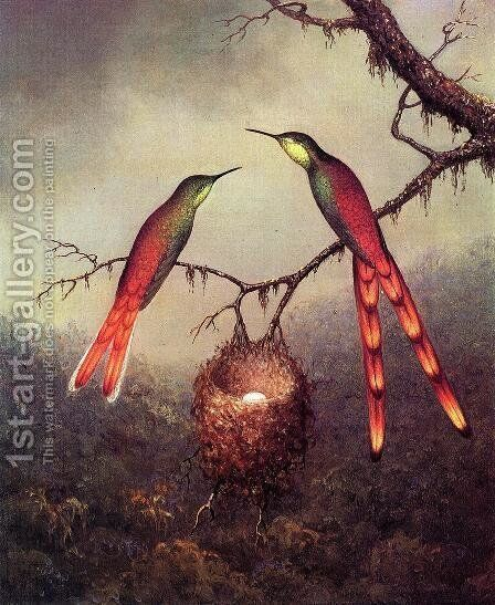 Two Hummingbirds Garding An Egg by Martin Johnson Heade - Reproduction Oil Painting