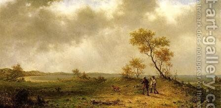Two Hunters In A Landscape by Martin Johnson Heade - Reproduction Oil Painting