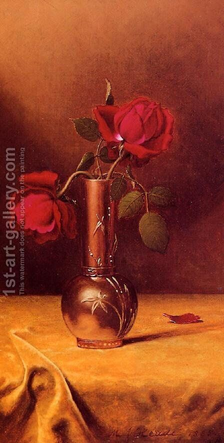 Two Red Roses In A Bronze Vase by Martin Johnson Heade - Reproduction Oil Painting