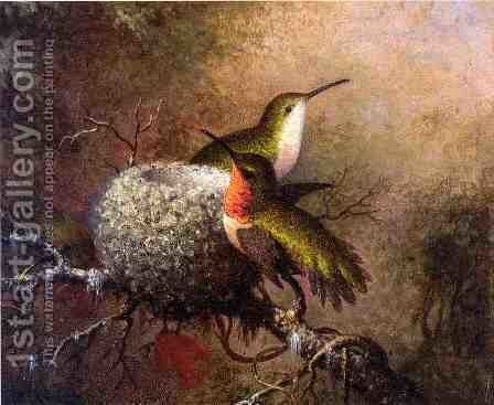 Two Ruby Throats By Their Nest by Martin Johnson Heade - Reproduction Oil Painting