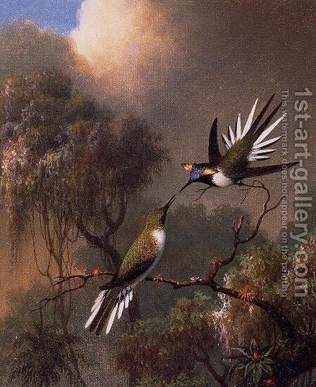 Two Sun Gems On A Branch by Martin Johnson Heade - Reproduction Oil Painting