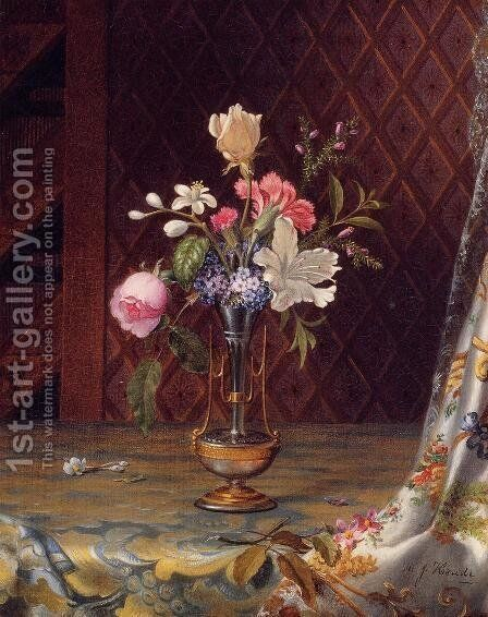 Vase Of Mixed Flowers by Martin Johnson Heade - Reproduction Oil Painting