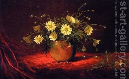 Yellow Daisies In A Bowl by Martin Johnson Heade - Reproduction Oil Painting