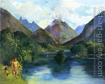 Entrance To Tautira River  Tahiti by John La Farge - Reproduction Oil Painting
