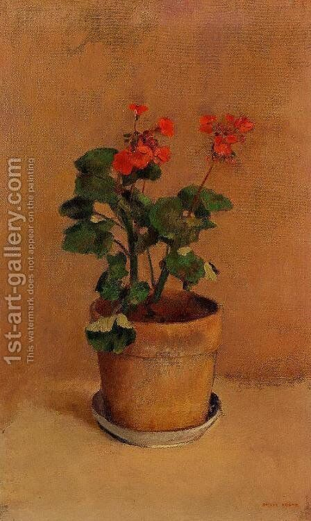 A Pot Of Geraniums by Odilon Redon - Reproduction Oil Painting