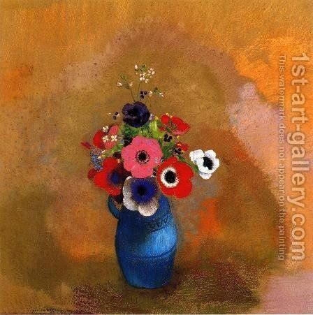 Anemonies In A Blue Vase by Odilon Redon - Reproduction Oil Painting