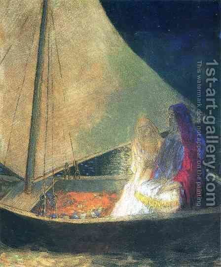 Boat With Two Figures by Odilon Redon - Reproduction Oil Painting