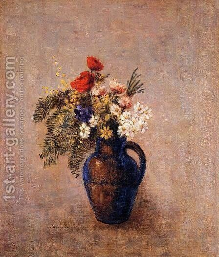Bouquet Of Flowers In A Blue Vase3 by Odilon Redon - Reproduction Oil Painting