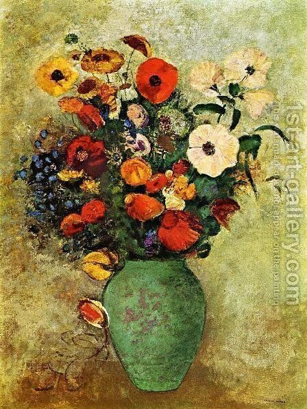 Bouquet Of Flowers In A Green Vase by Odilon Redon - Reproduction Oil Painting