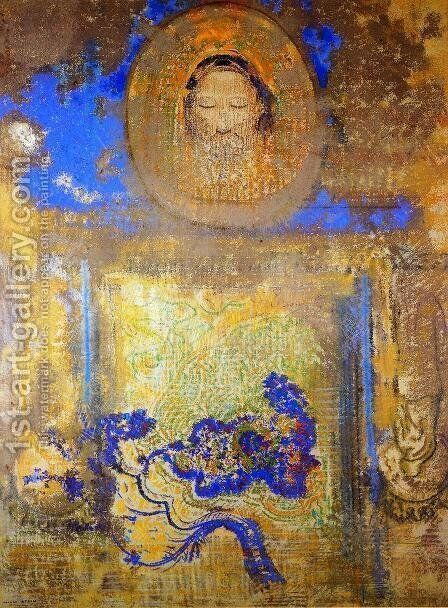 Evocation Aka Head Of Christ Or Inspiration From A Mosaic In Revenna by Odilon Redon - Reproduction Oil Painting