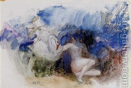 Leda And The Swan by Odilon Redon - Reproduction Oil Painting