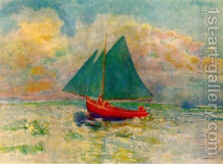Red Boat with a Blue Sail 1906-07 by Odilon Redon - Reproduction Oil Painting