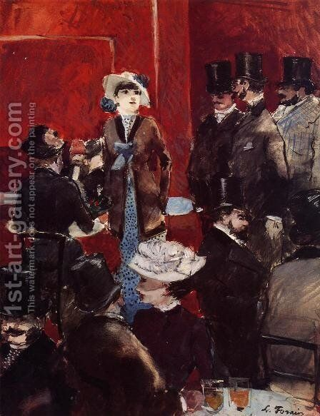 At The Cafe by Jean-Louis Forain - Reproduction Oil Painting