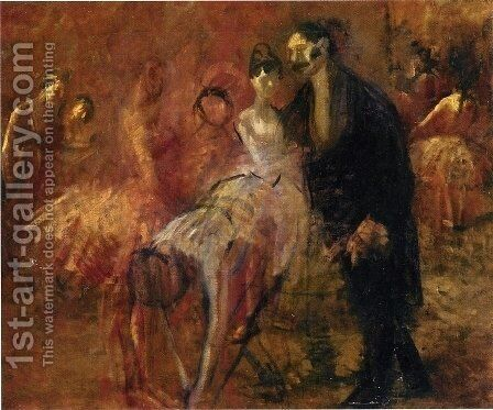 Behind The Scenes by Jean-Louis Forain - Reproduction Oil Painting
