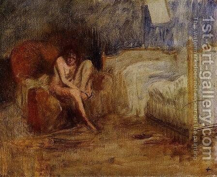 Getting Out Of Bed by Jean-Louis Forain - Reproduction Oil Painting