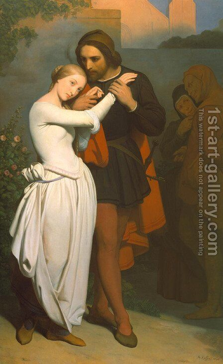 Faust And Marguerite In The Garden by Ary Scheffer - Reproduction Oil Painting