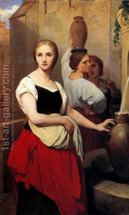 Margaret At The Fountain by Ary Scheffer - Reproduction Oil Painting