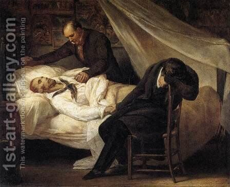The Death of Gericault 1824 by Ary Scheffer - Reproduction Oil Painting