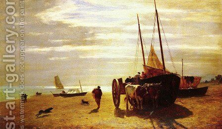 Beach At Trouville by Constant Troyon - Reproduction Oil Painting
