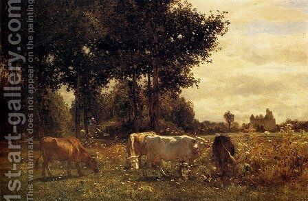 Cows Grazing by Constant Troyon - Reproduction Oil Painting
