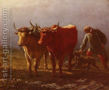 Plowing by Constant Troyon - Reproduction Oil Painting