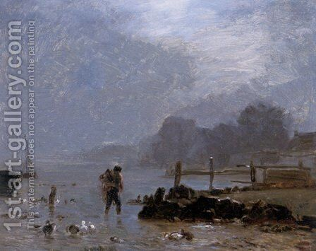 The Fisherman by Constant Troyon - Reproduction Oil Painting